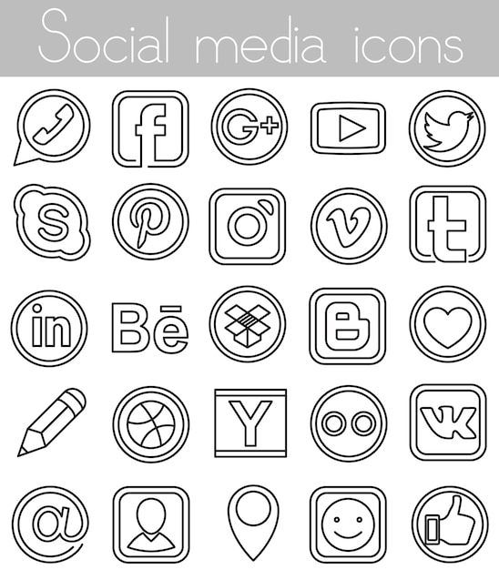 Linear social media icons Free Vector