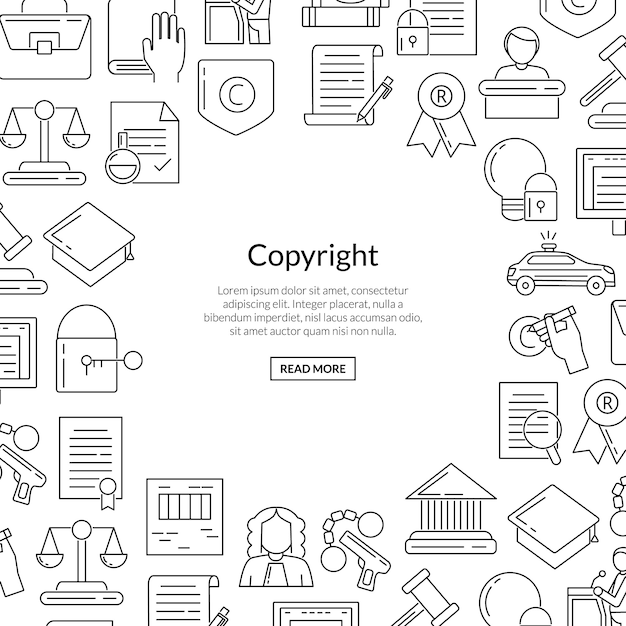 Linear style copyright elements with place for text in form of circle Premium Vector