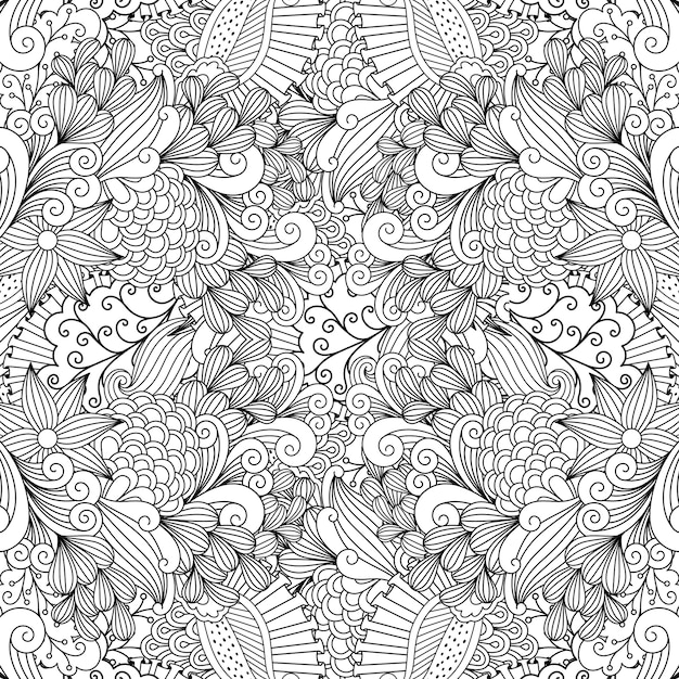 Linear swirls and leaves doodle pattern Premium Vector