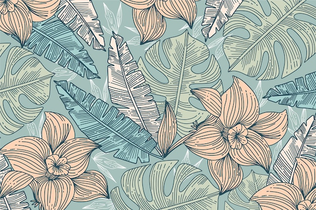 Linear tropical leaves background Free Vector