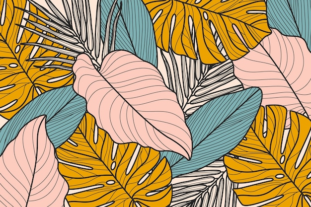 Linear tropical leaves with pastel background Premium Vector