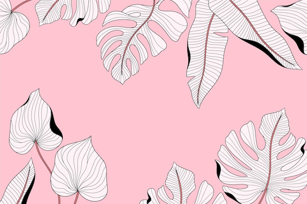 Linear tropical leaves with pastel color background Free Vector