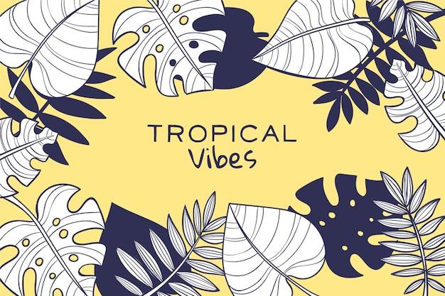 Линейные тропические листья с пастельным цветом фона Бесплатные векторы