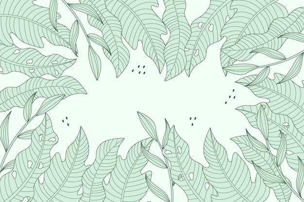 パステルカラーの背景を持つ線形熱帯の葉 無料ベクター