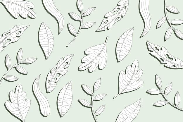 Foglie tropicali lineari con sfondo di colore pastello Vettore gratuito