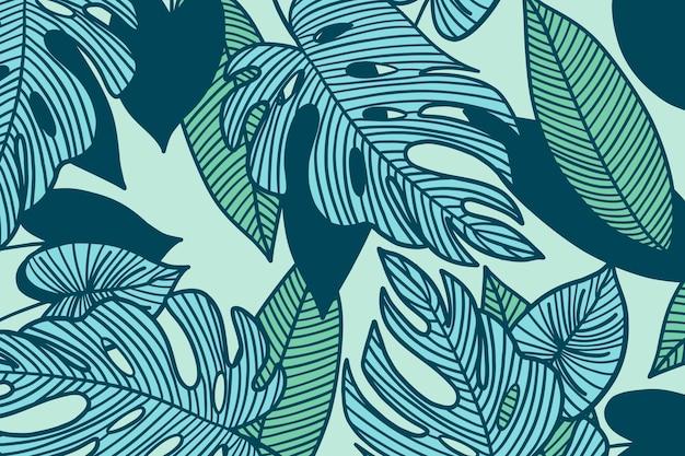 Foglie tropicali lineari con colore pastello Vettore gratuito