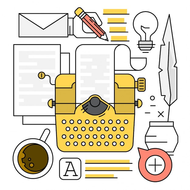 Linear typewriting elements Free Vector