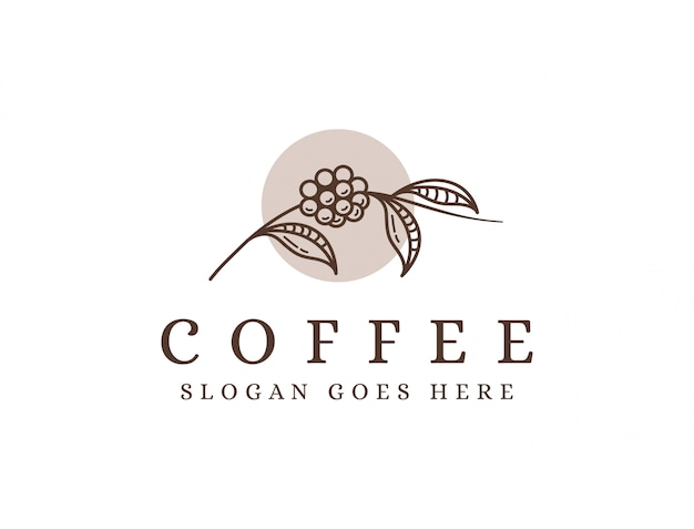 ラインアートコーヒーブランチのロゴ、コーヒー豆のロゴ、コーヒー植物のロゴアイコンテンプレート Premiumベクター