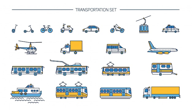 Lineart icon set with ground transport, aviation and water transportation on white background. collection with bike, bus, trolley, subway, train, car, airplane, scooter, funicular, tram, plane, boat. Premium Vector