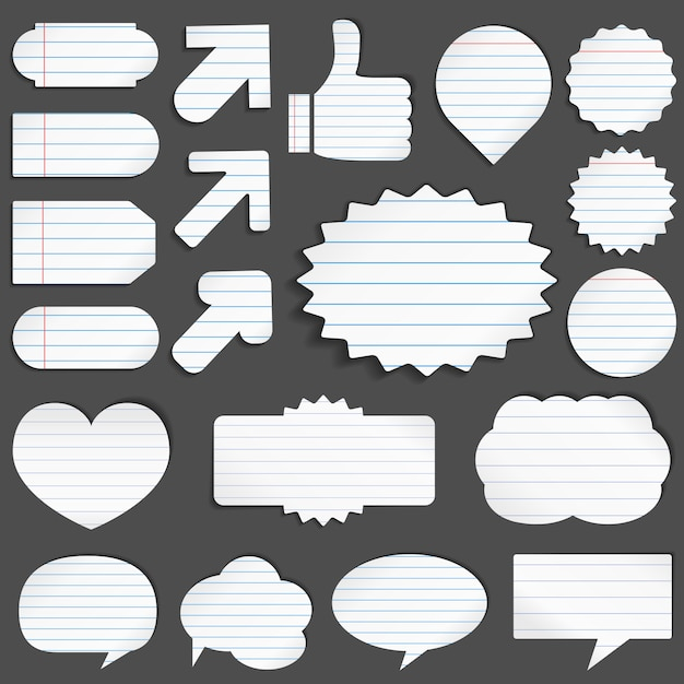 Lined paper objects Premium Vector