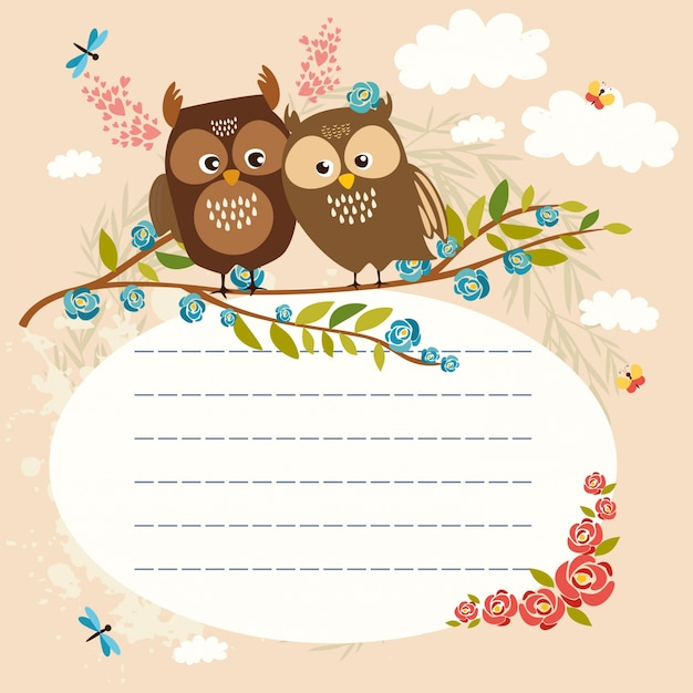 lined space for text owls Free Vector