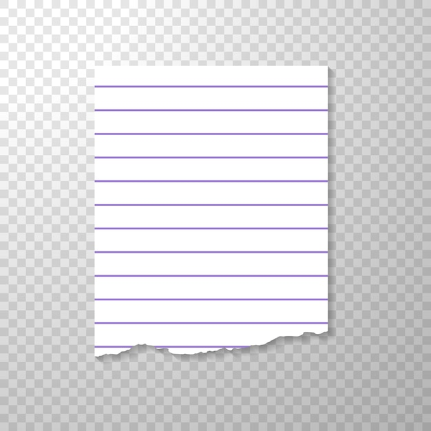Lined torn piece of paper from notebook. Free Vector