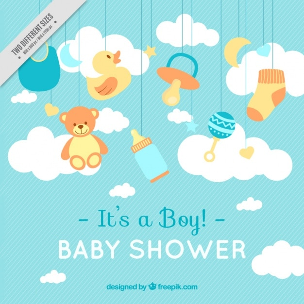lines background with baby shower items 23
