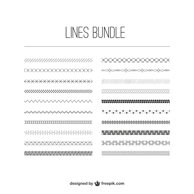 Line Drawing Vector Graphics : Lines bundle vector free download