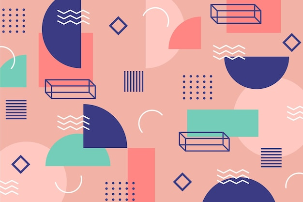 Lines and dotsmemphis background Premium Vector