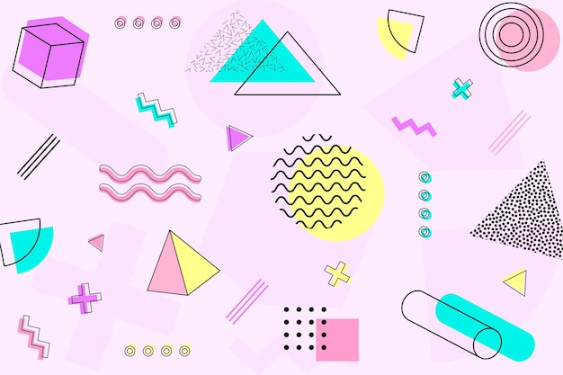 Lines and shapesmemphis background Premium Vector