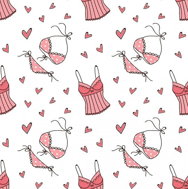 Lingerie doodle seamless pattern Premium Vector