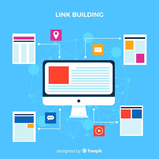 Link building concept Free Vector