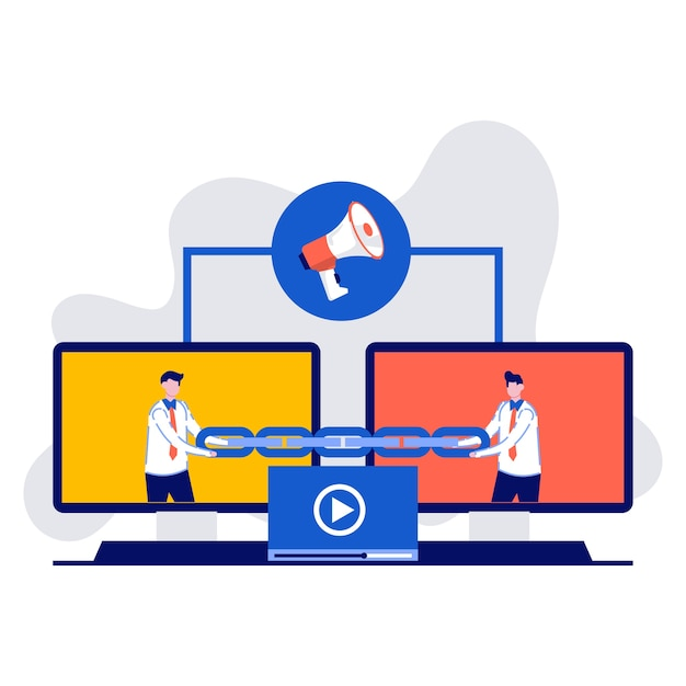 Link building, seo, backlink strategy, inbound links, concept with characters. two monitor are connected by a chain. Premium Vector