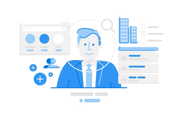 Linkedin social media platform illustration Premium Vector