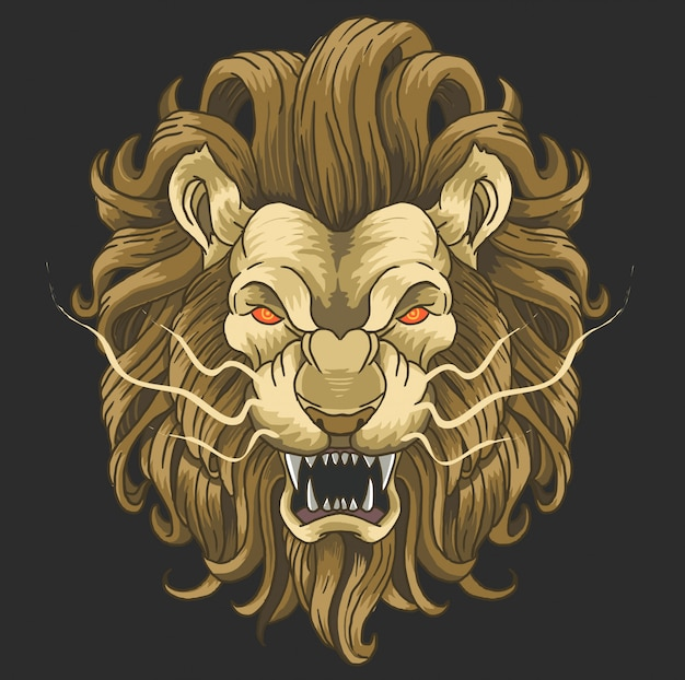 Lion angry face wild animal Premium Vector