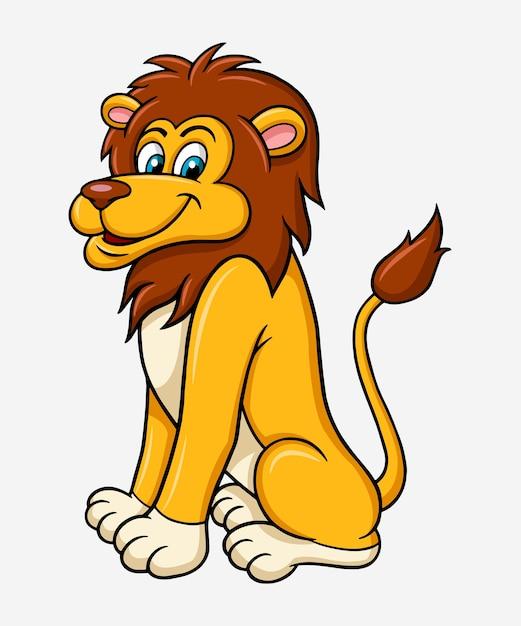 Lion animal cartoon character Vector | Premium Download