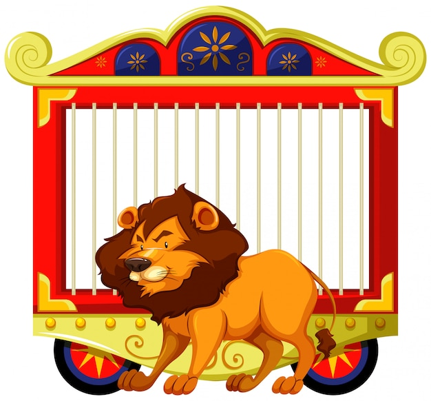 Lion and carnival cage Free Vector