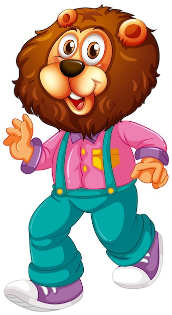 A lion cartoon character Free Vector
