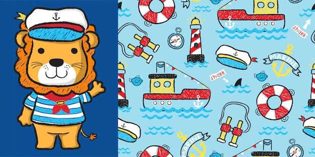 Lion cartoon with sailinging equipment on seamless pattern Premium Vector
