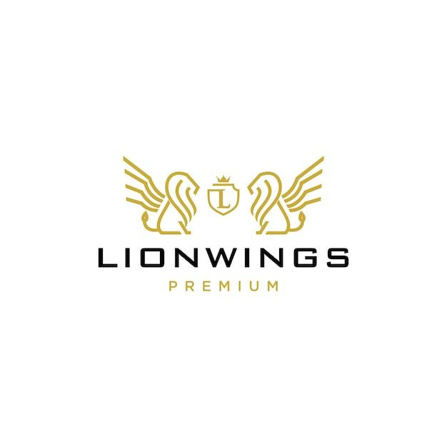 Lion coat of arms logo Premium Vector