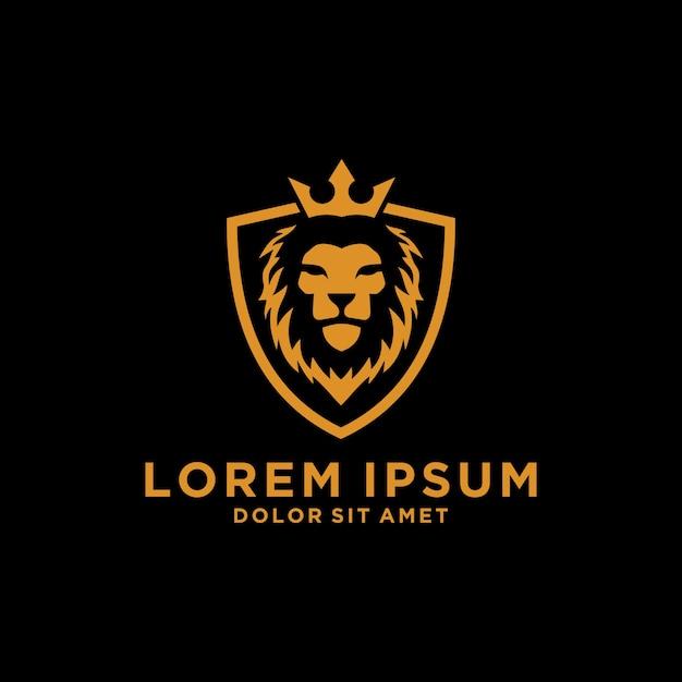 Lion Crown Shield Logo Premium Vector