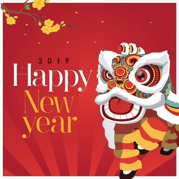 Lion dance happy new year Premium Vector