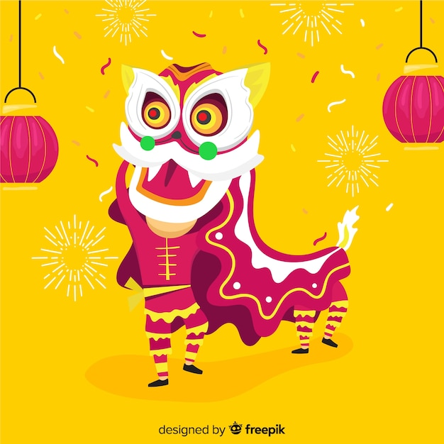 Lion dance Free Vector