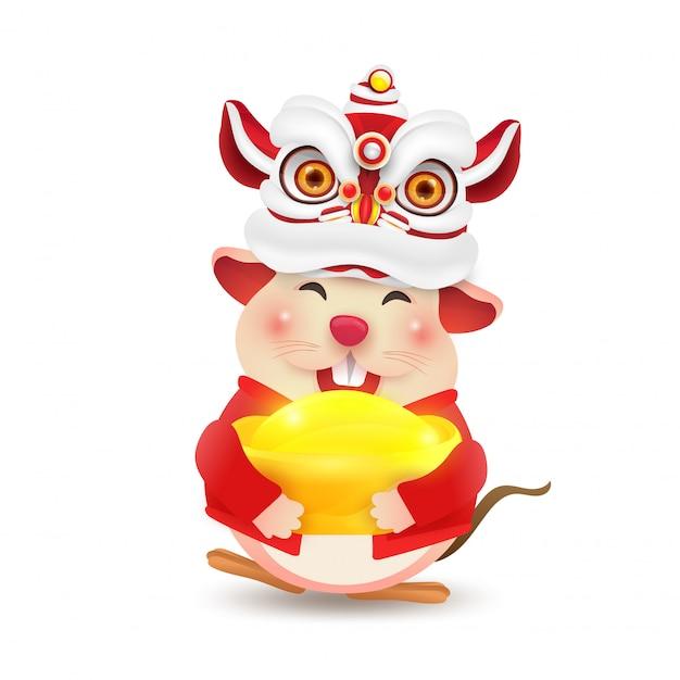 Маленькая крыса или мышь исполняет китайский новый год lion dance. изолированные. Premium векторы