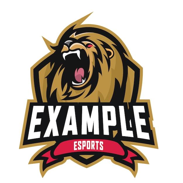 Lion e sports logo Premium Vector