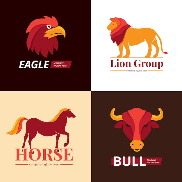 Lion, eagle, horse and bull logo set Free Vector