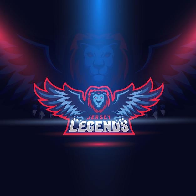 Lion eagle wings esport logo template Vector | Premium Download