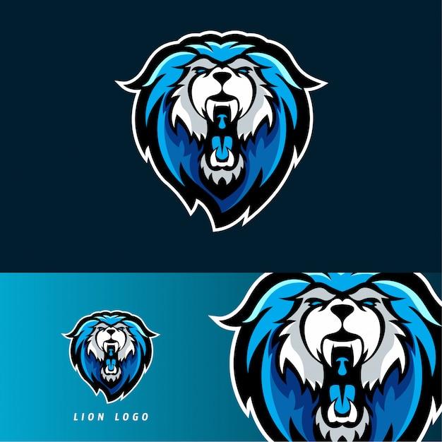 Lion esport gaming mascot emblem Premium Vector