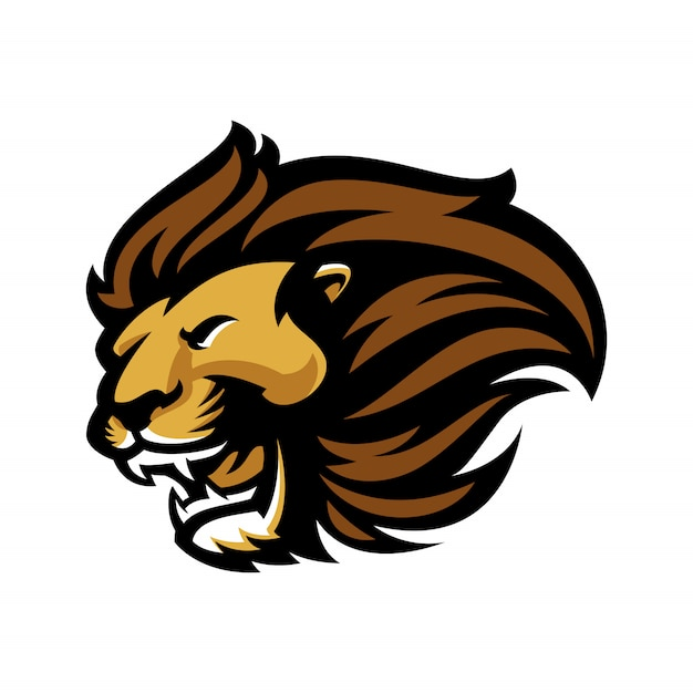 Lion for esport and sport mascot logo isolated on white Premium Vector