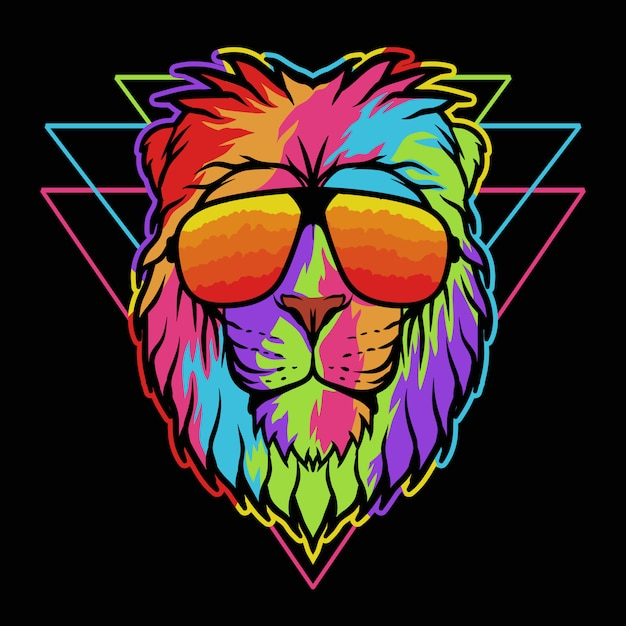 Lion eyeglasses colorful illustration Premium Vector