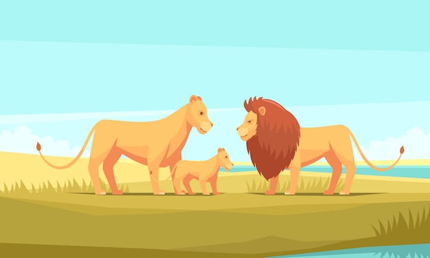 Lion farm nature background Free Vector