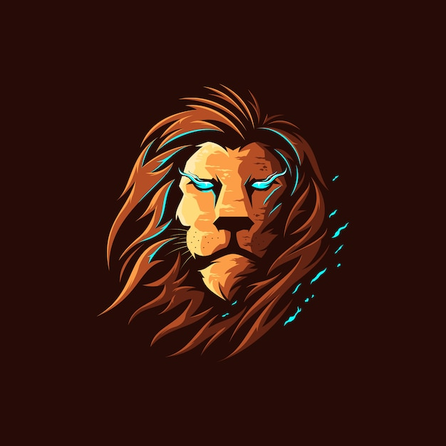 Lion full color illustration logo Premium Vector
