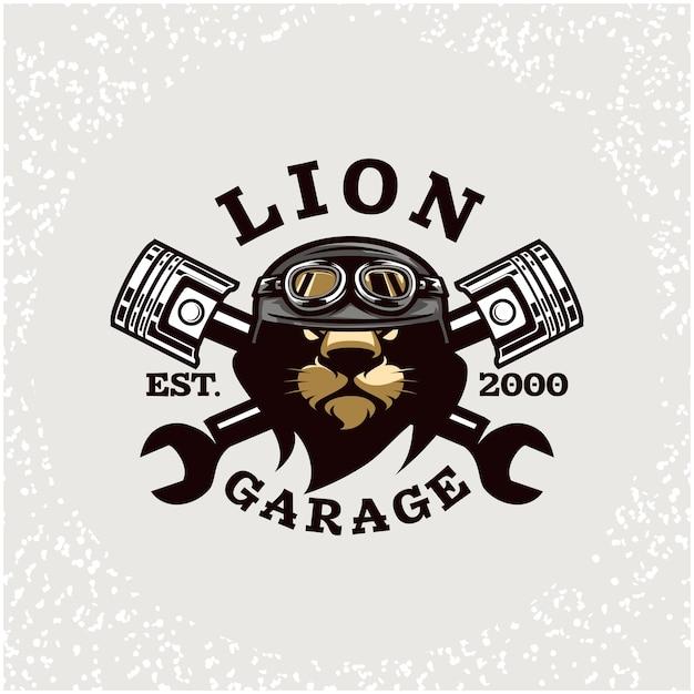 Ремонт автомобилей голова льва и логотип гаража на заказ. Premium векторы