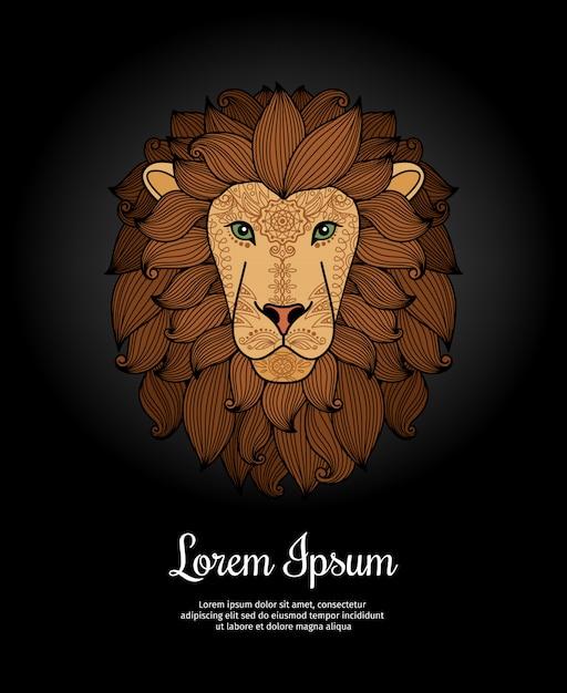 Lion head card poster template Premium Vector