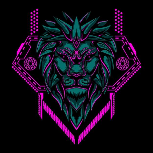 Lion head geometry vector illustration Premium Vector