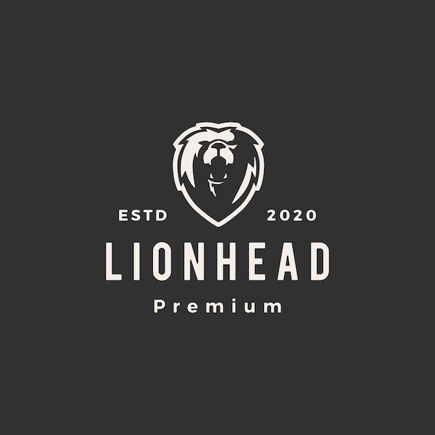 Голова льва битник старинный логотип значок иллюстрации Premium векторы