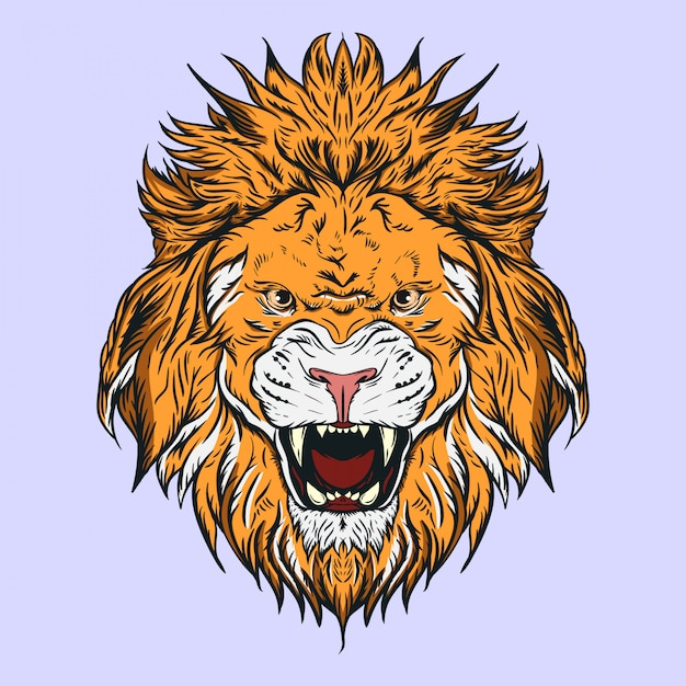 Иллюстрация головы льва, для логотипов, талисманов или других дизайнерских нужд Premium векторы