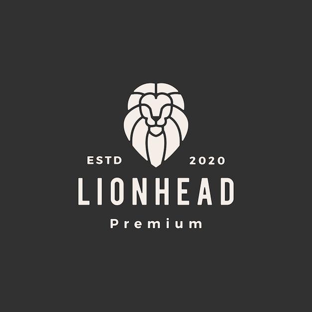 Лев линия головы наброски битник старинные логотип значок иллюстрации Premium векторы