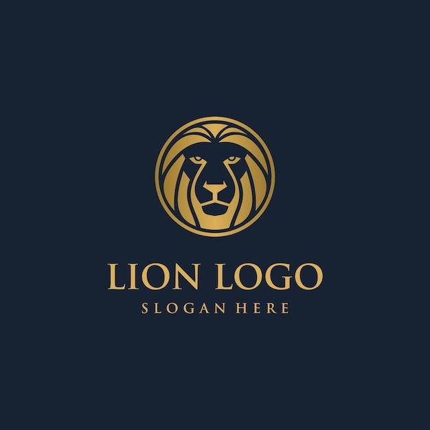 Lion head logo design concept Premium Vector