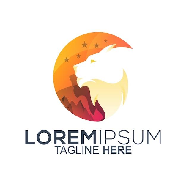 Lion head logo design Premium Vector